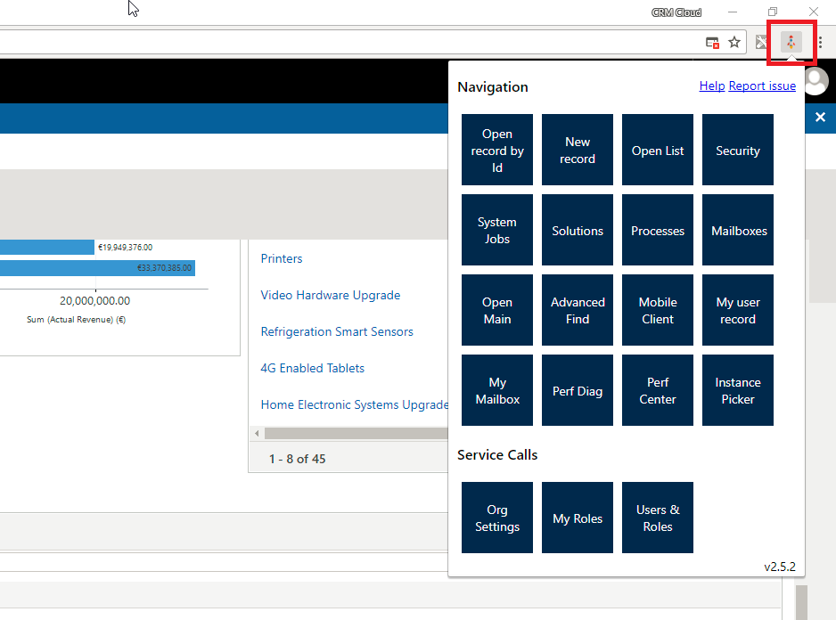Level up for Dynamics CRM/365 Menu