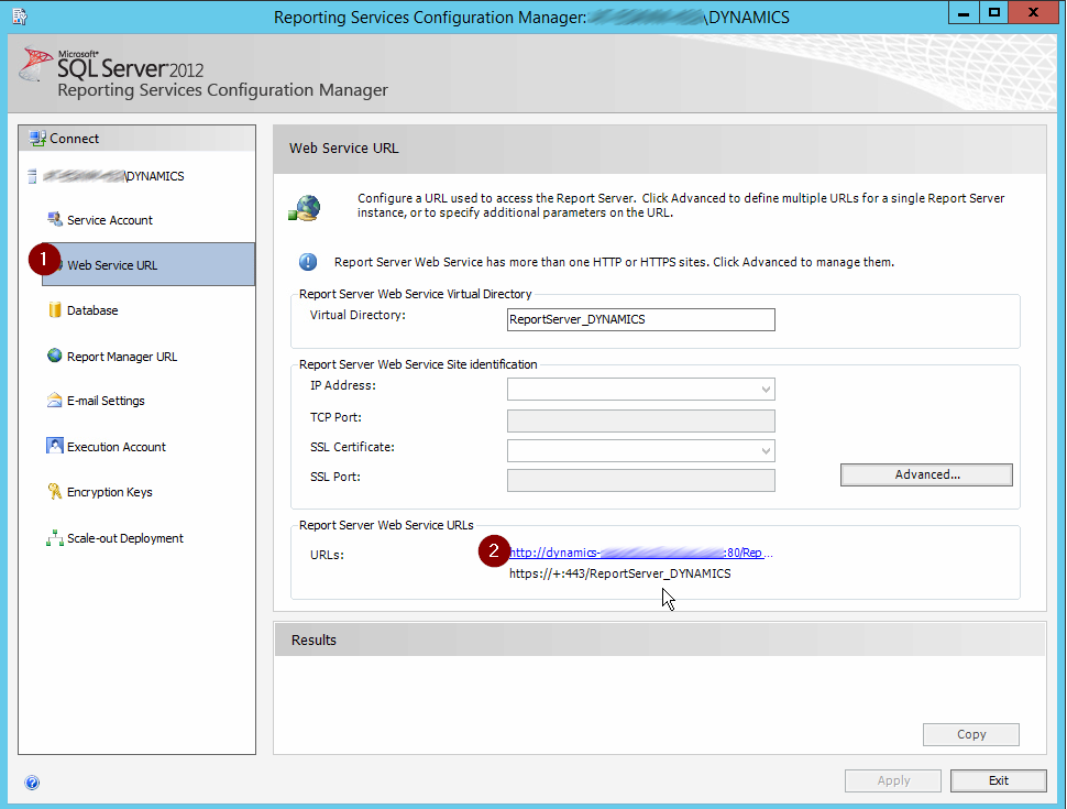 reporting services configuration manager - reporting url
