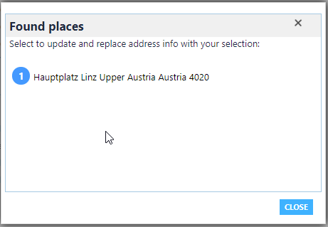 Popup windows while entering the address on the account form