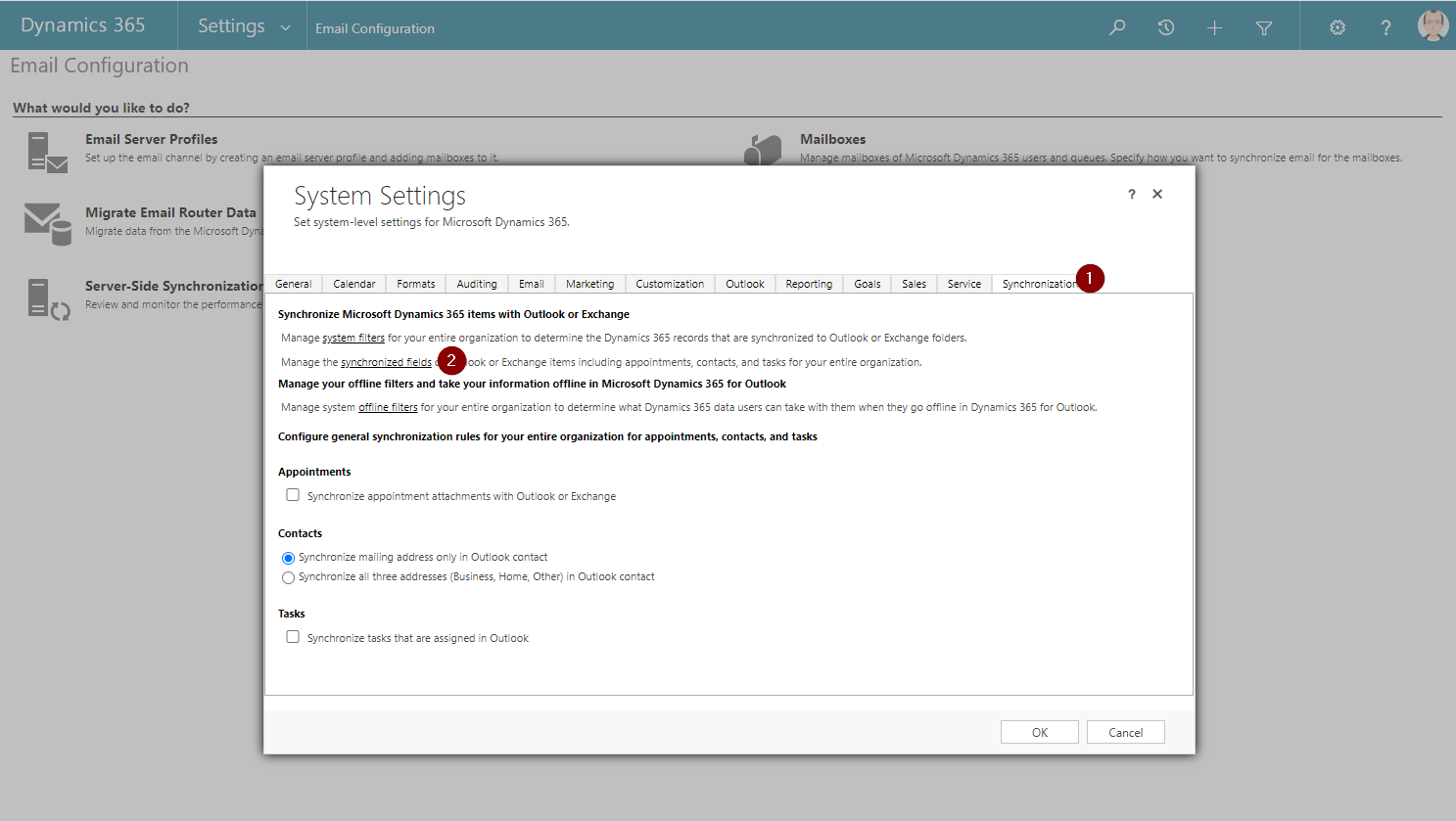 Email Configration Synchronization Dialog