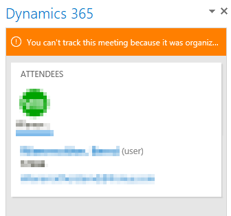 You can't track this meeting because it was organized by another user